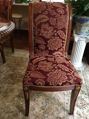 6 Regency Style Carved Mahogony Dining Room Chairs with gold accents $200 each