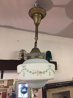 Antique Art & Crafts Mission Ceiling Light Fixture Hand Painted Glass Chandelier