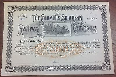 Columbus Southern Railway Company Stock Certificate {DO411}