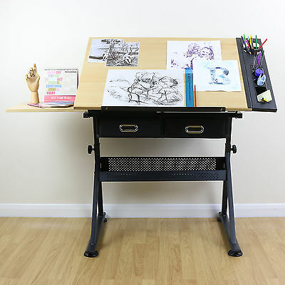 Tiltable Tabletop Drawing Drafting Table Stool Chair 2 Drawer Set Home Office UK