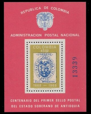 1968 Colombia Centenary Of The Antioquia Stamp  Mnh S. S.  Sct. 785 Mi.block 30