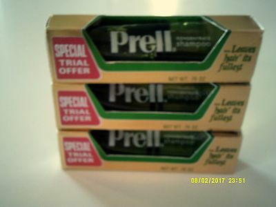 Vintage PRELL SHAMPOO Trial Size Tube Lot Of 3 Unused New Old Stock 1970's
