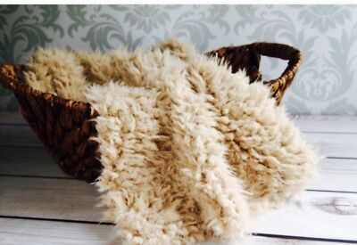 """Light Camel Faux Flokati curly fur Photography Blanket props 18""""x20"""" Inches"""
