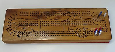 Cribbage Board: 3 Lane with 1958 Chevrolet image. Felt Back.