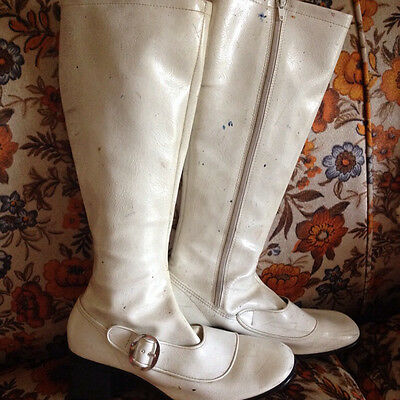Vintage White Go Go Boots Made In Japan Size 7 Knee High