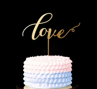 LOVE CAKE TOPPER DECORATION GOLD  WEDDING ENGAGEMENT ANNIVERSARY Party Special