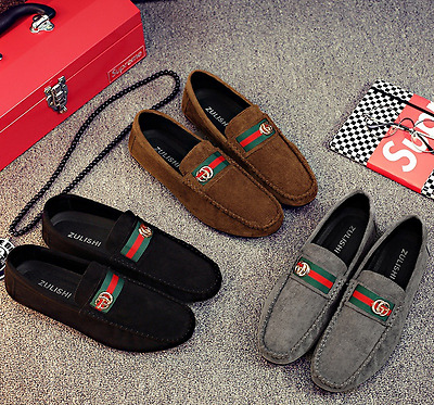New Men's Minimalism Driving Loafers Suede Leather Moccasins Slip on penny shoes