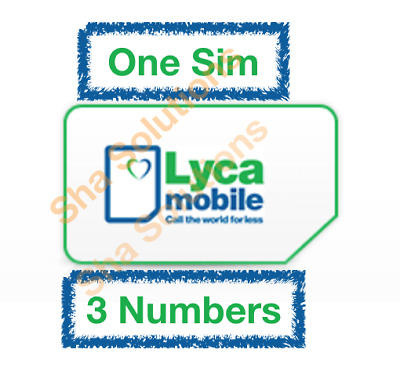 Lycamobile Trio Sim Card, One Sim have Three Numbers / Pay-As-You-Go