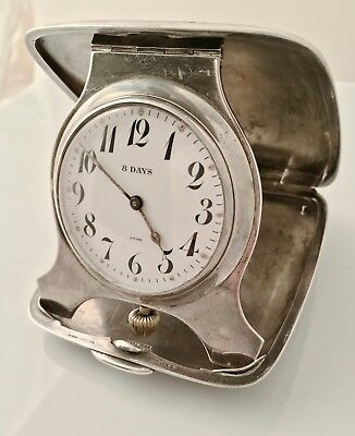 Collectible Tiffany & Co Silver Travel Clock, 8 Day Movement