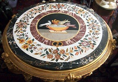 Pietra Dura Rare  Italian 19C Doves & Butterfly Gilt Wood Base Table -Dia= 57""