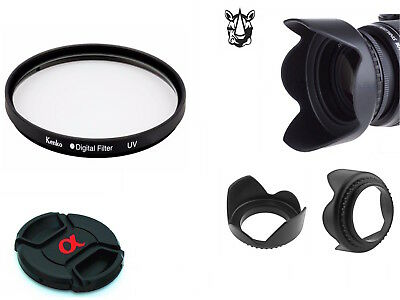 NK26 Lens Hood α Cap UV Filter Bundle Set For Sony DSC HX400V H400 HX350 HX300