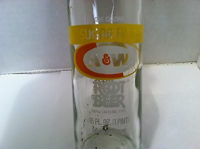 1984 A&W Sugar Free 1 calorie Root Beer 16oz 1 pint soda bottle