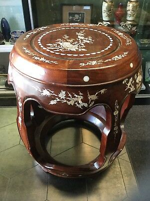 """17"""" Beautiful Vintage Solid Rosewood Mother of Pearl Inlaid Stool / Stand /Table"""