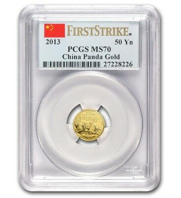 2013 1/10oz China 50¥ Gold Panda - PCGS First Strike MS70 - .999 Fine Gold