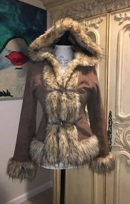 Vintage Women's Brown 100% Suede Leather Hooded Jacket w/ Faux Fur Trim Sz Small