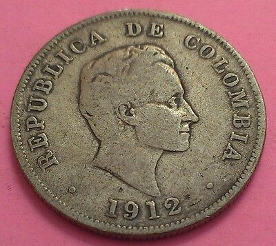Columbia 1912 Ungraded 50 Centavos 0.900 Silver Coin From Vintage Collection!
