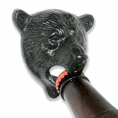 Black Grizzly Bear Wall Mount Beer Bottle Cap Openers durable Cast Iron