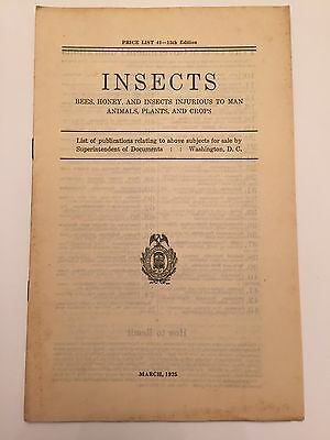 1925 Paper Price List Publications On Insects By Superintendent Of Documents Sci