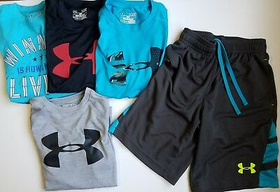 Under Armour Boys Lot of Sport Shirts and basketball Shorts Size Small