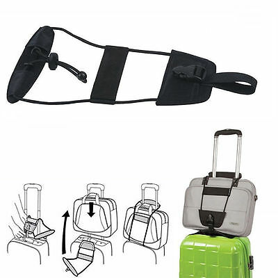 Add A Bag Strap Travel Luggage Suitcase Adjustable Belt Carry On Bungee Strap DZ