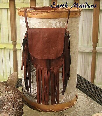 Native Medicine Bag Lg Mahogany Deer Leather William Lattie Cherokee Cert of Aut