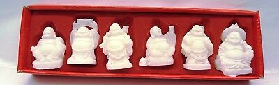 Set of 6 Frosted White Luminous Feng Shui Laughing Buddhas Statues Figurines