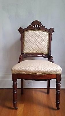 Antique Victorian Eastlake Carved Walnut Parlor Side Dining Chair Aesthetic 1800