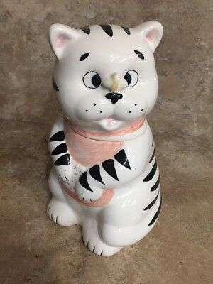 Ceramic Cat/butterfly Cookie Jar (173)