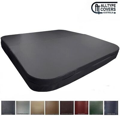Australian Made Lockable Hard Spa Cover-Square with Curved Corners (Matt Black)