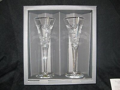 """Waterford Crystal"""" Peace """" Millennium Champagne Toasting Flutes Brand New In Box"""