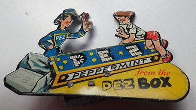 PEZ EXTREMELY RARE VINTAGE Tin-Litho Animated PEPPERMINT CLICKER 1940 1st Ed