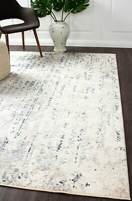 NEW Farah Distressed Contemporary Rug White Blue Grey