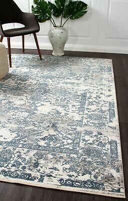 NEW Yasmin Distressed Transitional Rug White Blue Grey