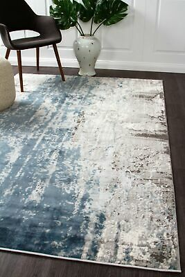 NEW Roxana Distressed Timeless Rug Blue Grey White