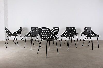 Suite de 10 chaises coquillage Pierre Guariche