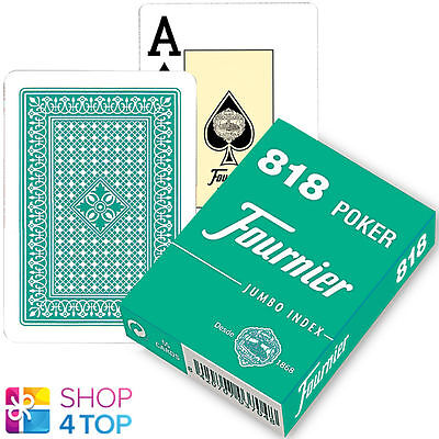 Fournier 818 Poker Plastic Coated Playing Cards Deck Green Jumbo Index New