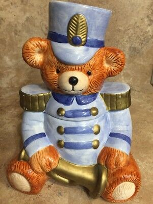"Nicewell Christmas Theme Bear Cookie Jar ""Toy Soldier"" (177)"