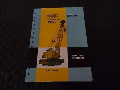 Coles Shunting Loco Crane Reliance Spec Hi 2109 Model R 2210 Leaflet As Pictures