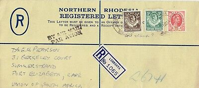 Northern Rhodesia 1954 Registration envelope with NR & RN stamps very fine
