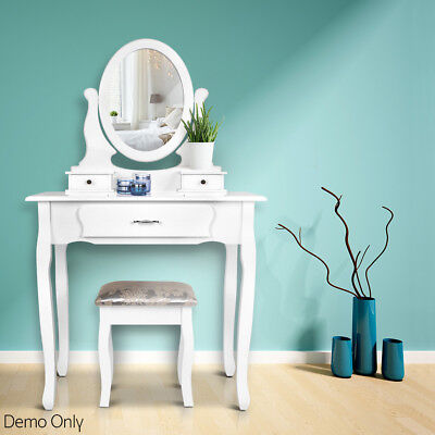 White Dressing Table Set Makeup Vanity with Stool and Mirror Jewellery Organizer