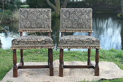 Pair of Jacobean style oak side chairs,dining/ desk chairs refectory Chairs,pair