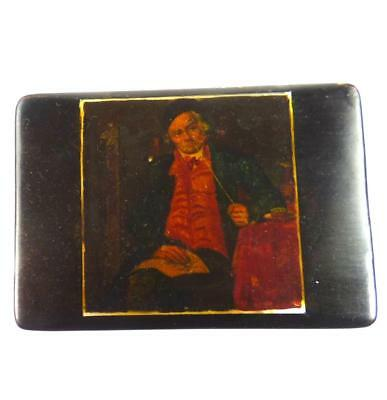 Antique 19Th Century Black Papier Mache Snuff Box Painting Of Seated Man