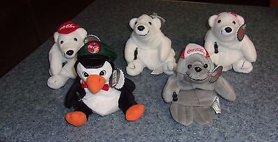 Brand New Set of Five 1997 Coca Cola Beanbag Bears Seal Penguin For Dog Charity