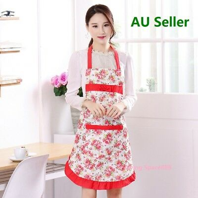 Apron Cute Cotton With Pocket Kitchen Cooking Woman Ladies Bowknot Dress