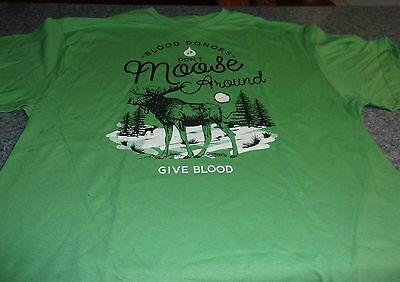 Brand New Moose Design Blood Donor Tee Shirt EXTRA LARGE For Dog Rescue Charity