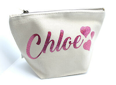 HEARTS Personalised Make Up/Wash Bag ANY Name Birthday Christmas Gift Present
