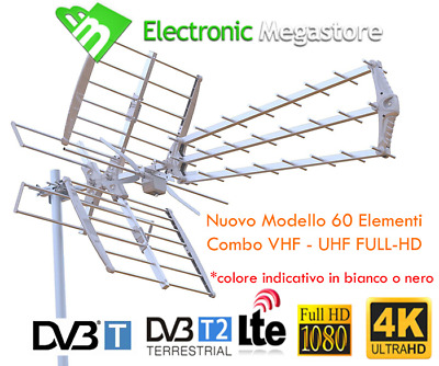 POTENTE ANTENNA TV HD COMBO UHF VHF Insieme 22 dB Digitale terrestre
