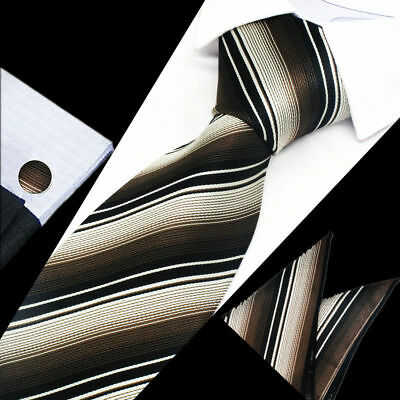 Classic Mens Brown Black Stripe Silk Tie Handkerchief Hanky Cufflinks GIFT SET