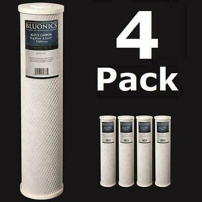 """4-PK Carbon Block Big Blue 20 x 4.5"""" Whole House Charcoal Water Filters 5 Micron"""