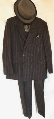 Vintage Man's Pinstripe Suit Double Breasted & Turn Ups Perfect Goodwood